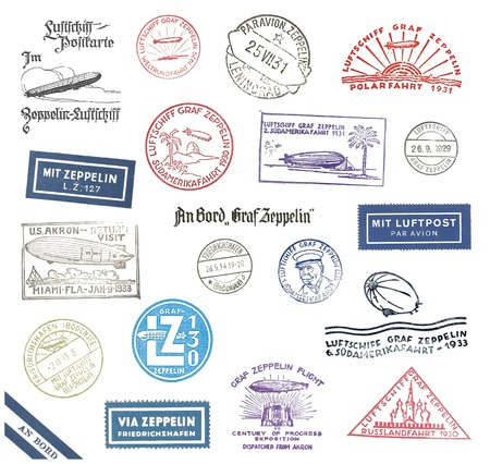 par avion: Historic Zeppelin stamps and airmail labels  from Germany Stock Photo