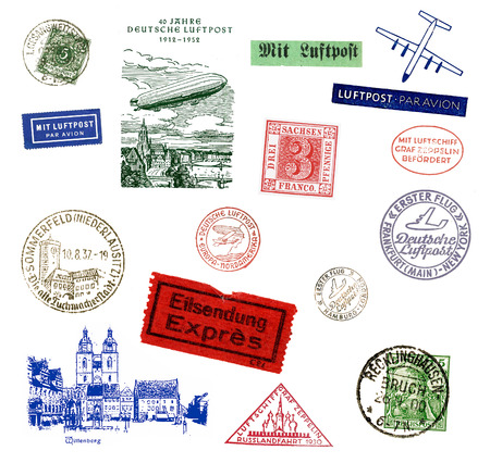 Postage stamps and labels from Germany, mostly vintage from the Years 1900 - 1950 photo