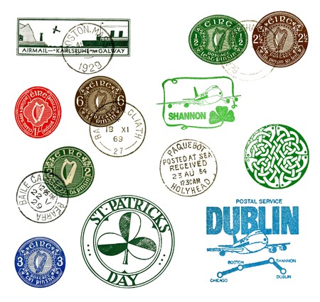Postage stamps and labels from Ireland, mostly vintage photo