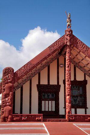 north island: Maori house in Rotorua, North Island, New Zealand Editorial