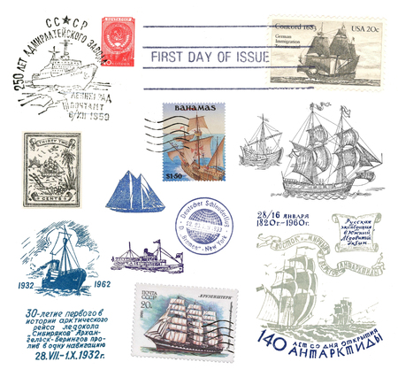 exempted: Stamps and postmarks ship post from various countries