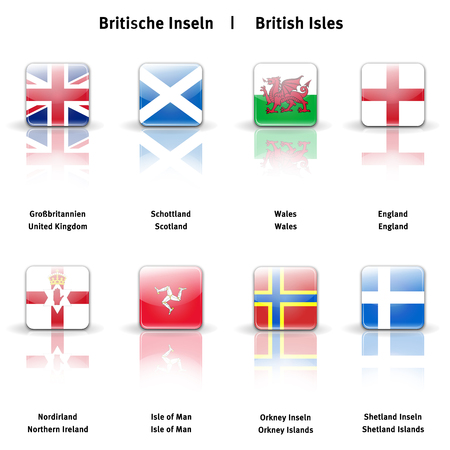 High resolution glossy  icons of the British Isles photo