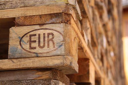 wood trade: Close-up of a Euro- pallets in a stack Stock Photo