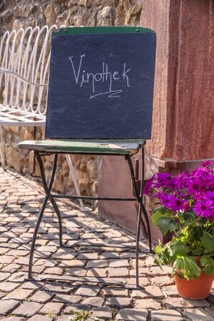 wine grower: Sign wine bar in the old town of Eltville, Rheingau, Hesse, Germany Stock Photo