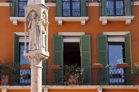 veneto: Old Market column at the Piazza Bra in Verona Veneto Italy