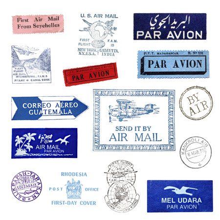 exempted: Vintage postage stamps and airmail labels from all over the world
