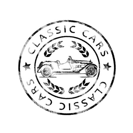 Historic Postmark Classic cars Stock Photo
