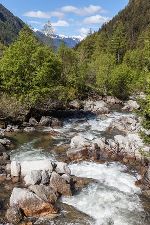springwater: Mountain stream in Riva di Tures South Tyrol Italy Reintal Stock Photo