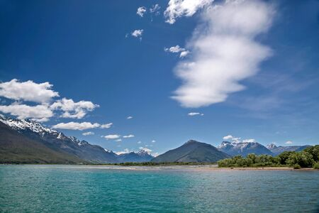 exceptional: Lake Wakatipu with exceptional clouds Otago South Iceland New Zealand Stock Photo
