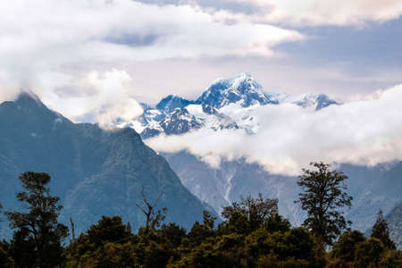 aoraki mount cook national park: Mount Cook covered in clouds, Westland National Park,  South island,  New Zealand Stock Photo