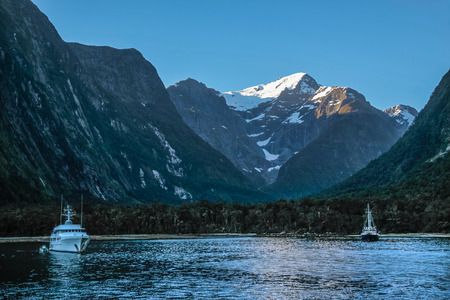 unaffected: Blue hour in the Milford Sound, Southland, South island,  New Zealand