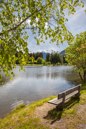 tyrol: Bench at the Muehlwald lake, Campo Tures, South Tyrol, Italy