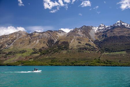 south island new zealand: Lake Wakatipu at Glenorchy, Otago, South Island, New Zealand Stock Photo