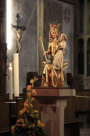 christendom: Historic Madonna statue in 1350 in the Church of St. Valentinus in Kiedrich, Rheingau, Hesse, Germany Editorial