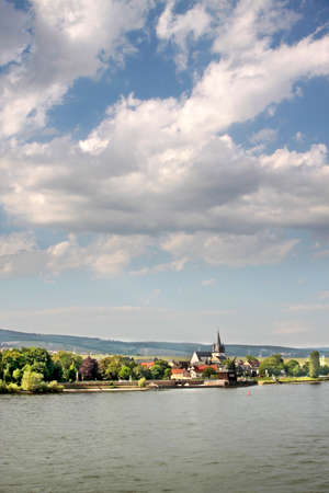 middle ages boat: Oestrich-Winkel on the Rhine, Rheingau, Hesse, Germany Stock Photo