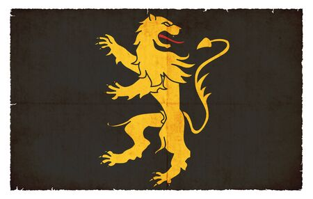 welsh: Flag of the Welsh county Ceredigion created in grunge style