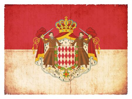 monegasque: National Flag of Monaco with coat of arms created in grunge style