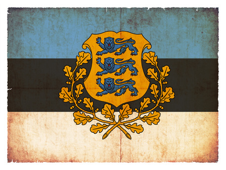 eastern europe: National Flag of Estonia with coat of arms created in grunge style Stock Photo
