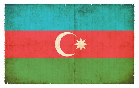 azerbaijanian: National Flag of Azerbaijan created in grunge style Stock Photo