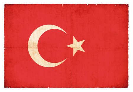 eastern europe: National Flag of Turkey created in grunge style Stock Photo