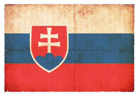 eastern europe: National Flag of Slovakia created in grunge style