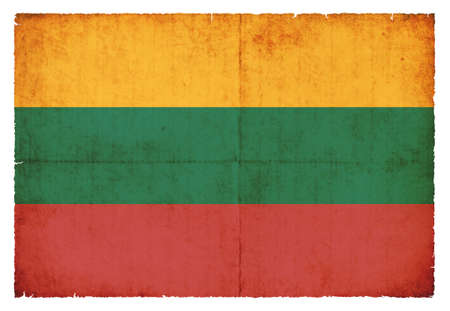 eastern europe: National Flag of Lithuania created in grunge style