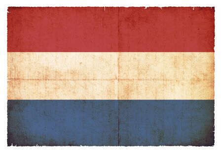 benelux: National Flag of Netherlands created in grunge style