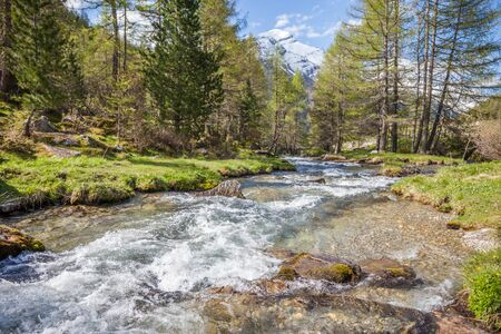 Mountain stream in Riva di Tures, Reintal, South Tyrol, Italy