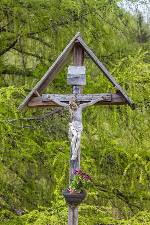 believing: Christian wayside shrine in South Tyrol in Muehlwald valley, Campo Tures, South Tyrol, Italy