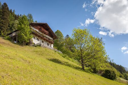 alpine hut: Alpine Hut and mountain meadow in South Tyrol, Italy Editorial