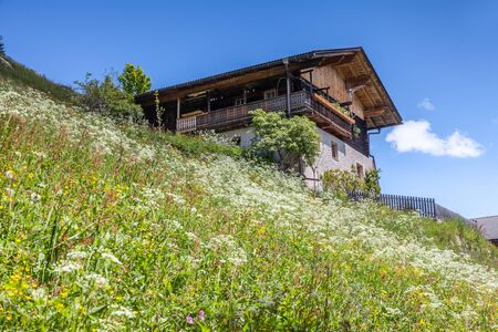 alpine hut: Alpine Hut and mountain meadow in South Tyrol, Italy Stock Photo