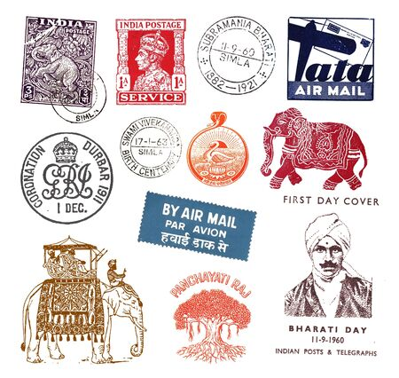 indian postal stamp: Postage stamps and labels from India, mostly vintage