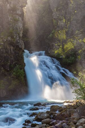 Huge Waterfall in Reintal, South Tyrol, Italy
