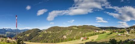 church steeple: Mountain panorama at Mittelberg, South Tyrol, Italy Stock Photo