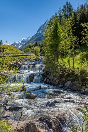 Mountain stream near the village of Prettau in the rear Ahrntal, South Tyrol, Italy Stock Photo