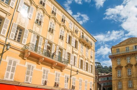 Historic houses at the Cours Saleya in Nice, Cote Azur, France