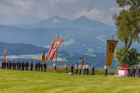 Sacred Heart Procession in Lengstein at Renon, South Tyrol, Italy