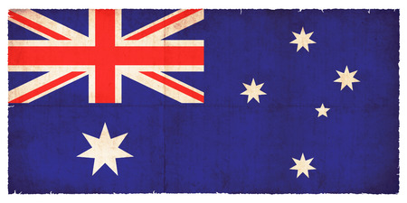 National Flag of Australia created in grunge style