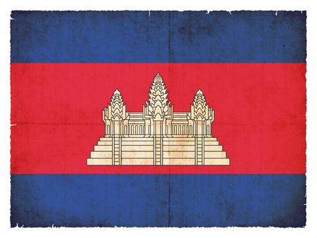 National Flag of Cambodia created in grunge style