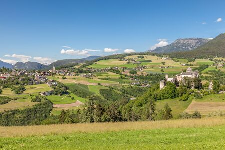 View of Voels am Schlern, South Tyrol, Italy Stock Photo