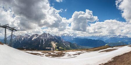 Mountain top panorama on the Kronplatz (2275 m) above Brunico, South Tyrol, Italy Stock Photo