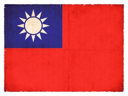 National Flag of Taiwan created in grunge style