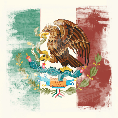 National Flag of Mexico created in grunge style