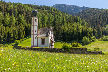 Church of St. John in Ranui at St. Magdalena in Villnoesstal, South Tyrol, Italy Stock Photo