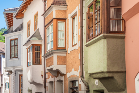 Historic houses in the old town of Klausen, South Tyrol, Italy
