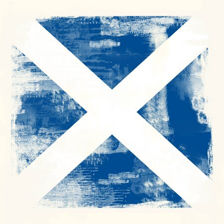 Flag of Scotland created in grunge style