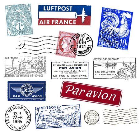 Briefmarken und Etiketten aus Frankreich, meist Vintage