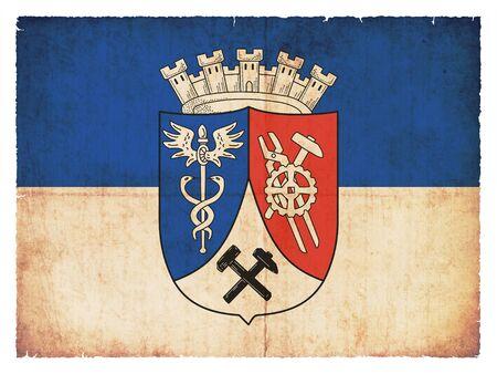 Flag of the German town Oberhausen (North Rhine-Westphalia, Germany) created in grunge style