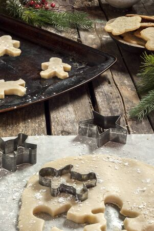 christmas cookie: fresh baked Christmas cookies on a rustic table