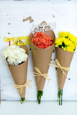 hurray: Three colored bouquet of carnations in paper cornet. Super-duper first class. The First Teacher. Hurray! First Class Stock Photo